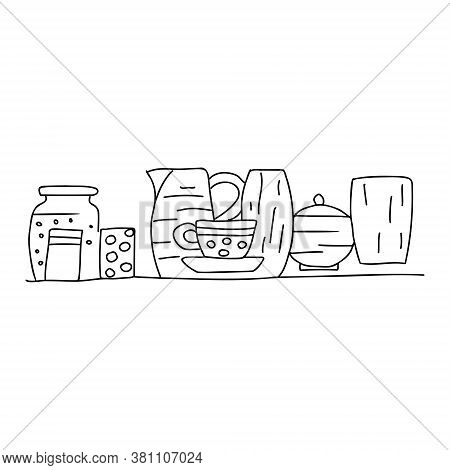 Various Dishes A Jar With Compote, Glasses, Cups, A Jug, A Sugar Bowl, A Vase Are On The Shelf In Th