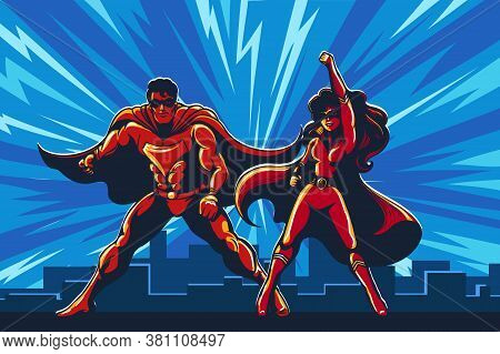 Superhero Couple Staying On The Roof With City Skyline Background. Vector Illustration.