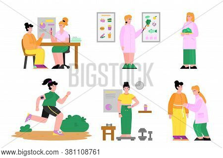 Nutritionist Set - Cartoon Nutrition Doctor Teaching About Food, Making Diet And Exercise Plan For C