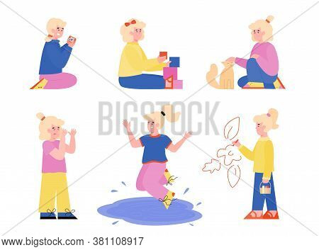 Set Of Cartoon Little Girl Characters Demonstrating Bad And Good Behavior, Flat Vector Illustration