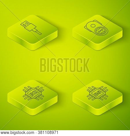 Set Isometric Electrical Outlet, Processor With Microcircuits Cpu, Processor With Microcircuits Cpu