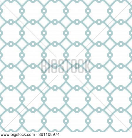 Seamless Vector Blue Ornament In Arabian Style. Geometric Abstract Ligh Blue And White Background. P