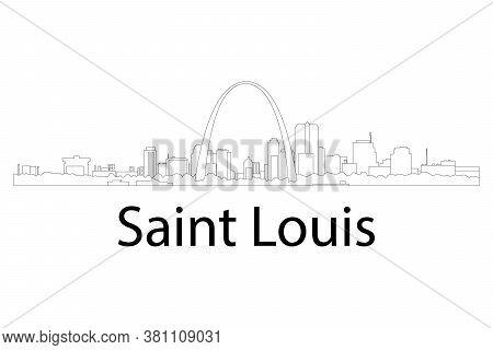 Skyline Of St. Louis, Missouri With Gateway Arch.  Outline Vector Illustration. Line Art.