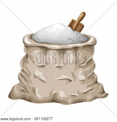 Flour Or Sugar Bag Illustration Isolated On White. Whole Sack Of Flour Or Sugar With Scoop Vector Ic