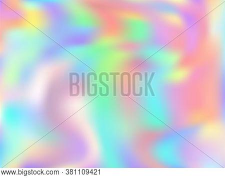 Blurred Hologram Texture Gradient Wallpaper. Lucent Pastel Rainbow Unicorn Background. Liquid Colors