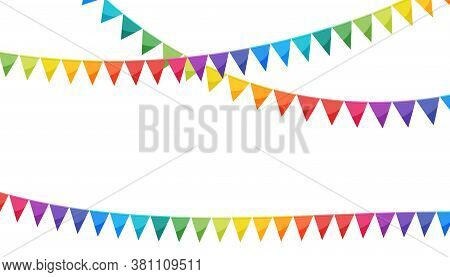 Rainbow Colors Paper Bunting Party Flags Isolated On White Background. Carnival Garland With Flags.