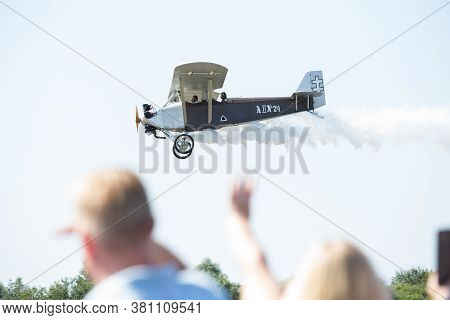 City Riga, Latvia. Avio Show In Honor Of The City Festival. Pilots Show Demonstrations With Aircraft