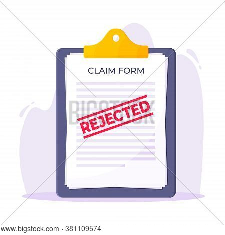 Clipboard With Rejected Claim Or Credit Loan Form On It, Paper Sheets And Rejected Stamp Flat Style