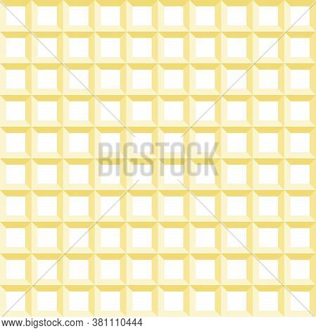 Seamless Vector Golden Background. Modern Ornament With Golden Volume Repeating Golden Squares. Geom