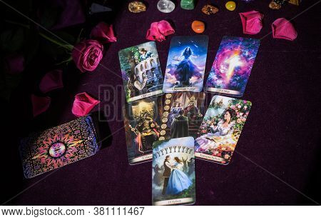 Tarot Cards On Table Magic For Attracting Love, Man, Marriage .... Mystical Attributes For Own Happi