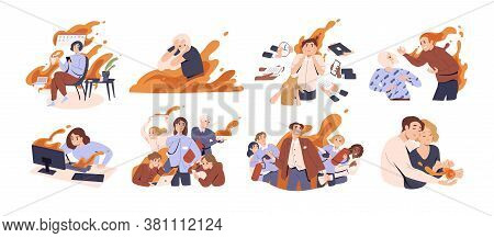 Set Of Different People In Fire Vector Flat Illustration. Collection Of Man And Woman Feeling Stress