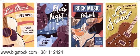 Set Of Posters With Guitars Vector Flat Illustration. Collection Flyer Templates Of Live Music, Rock