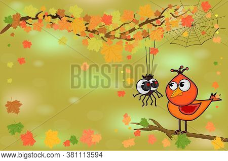 Cute Bird And Little Spider On Tree Branch. Spider And Bird Look At Each Other On Autumn Background.
