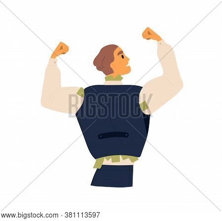 Business Male Hiding Cash Banknotes Under Waistcoat Vector Flat Illustration. Corruption Guy Hide In
