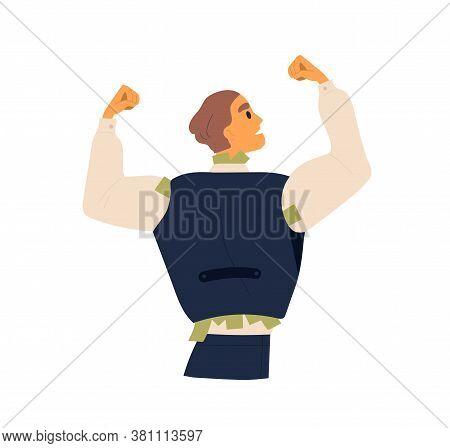 Business Male Hiding Cash Banknotes Under Waistcoat Vector Flat Illustration. Corruption Guy Hide In