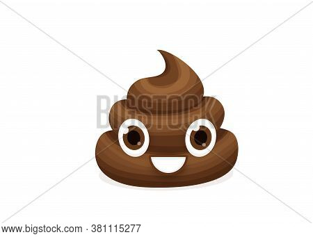 Brown Emoticon Poop Character Vector Illustration. Emoji Comic Poo In Flat Cartoon Style Isolated On