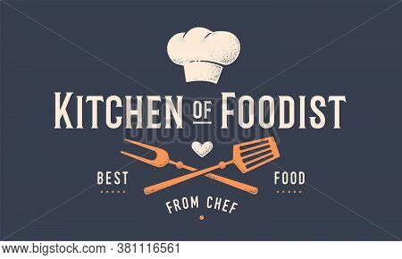 Food Logo. Logo For Cooking School Class With Icon Bbq Tools, Grill Fork, Spatula, Text Typography K