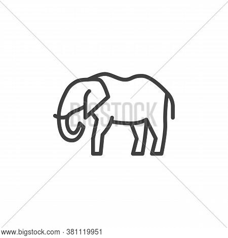 Elephant, Animal Line Icon. Linear Style Sign For Mobile Concept And Web Design. Elephant, Side View