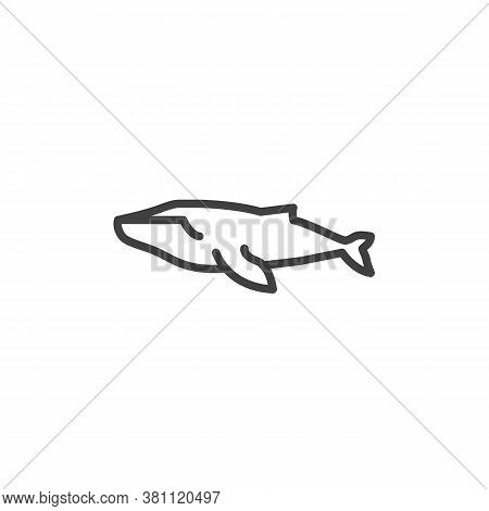 Whale Fish Line Icon. Linear Style Sign For Mobile Concept And Web Design. Marine Mammal Whale Outli