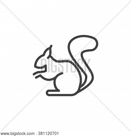 Squirrel Animal Line Icon. Linear Style Sign For Mobile Concept And Web Design. Squirrel Side View O