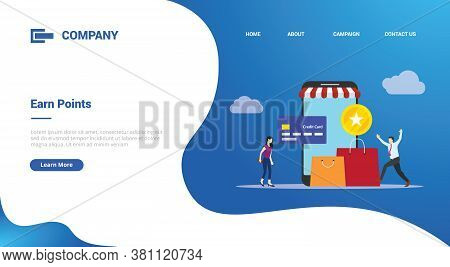 Earn Points Business People Reward Concept For Website Template Or Landing Homepage Template Banner