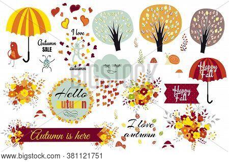 A Set Of Drawn Autumn Elements, Vector Illustration