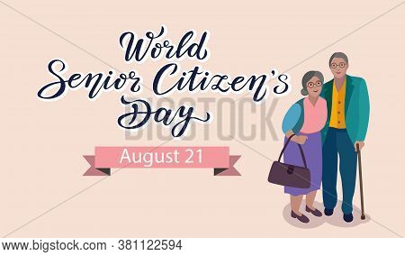 World Senior Citizens Day Poster With Lettering Text Design And Couple Characters. Can Use For Print