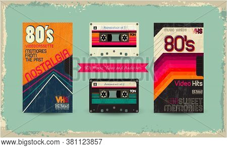 Vhs Tape. Vector Beta Tape, Cassette Box Old Graphic In 80s Glitch Style. Awesome Super Video Hits.