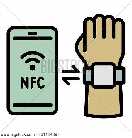Smartwatch Smartphone Nfc Icon. Outline Smartwatch Smartphone Nfc Vector Icon For Web Design Isolate