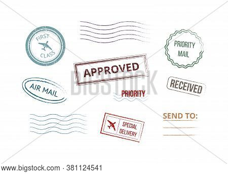 Grunge Style Colorful Postmarks Stamps Set Of Vector Illustrations Isolated.