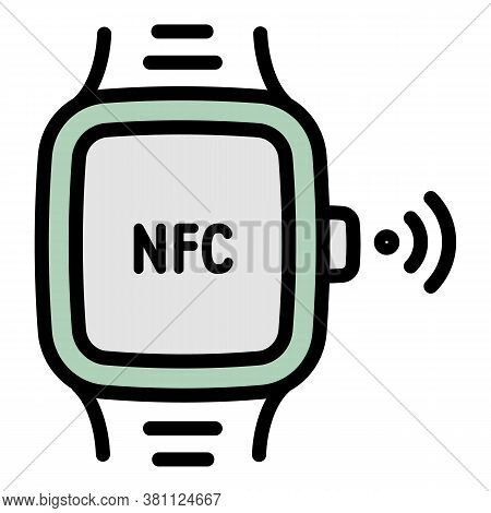 Nfc Smartwatch Icon. Outline Nfc Smartwatch Vector Icon For Web Design Isolated On White Background
