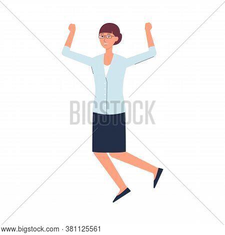 Female Teacher Jumping From Happiness - Cartoon Woman Happy Jump
