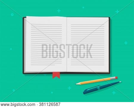 Book Open Vector, Diary Textbook Text Pages, Reading Notepad Or Notebook Paper With Bookmark, Writin