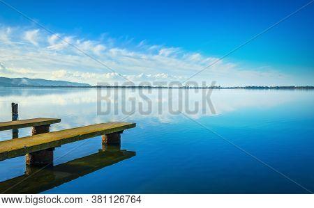 Two Piers Or Jetties, Sunset Blue Panoramic Landscape. Orbetello Lagoon In Maremma, Argentario, Tusc