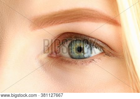 Close-up Face Blonde With Trendy Permanent Eyebrow. Natural Eyebrows Without Obvious Tattoo Effect.