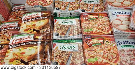 Russia, St. Petersburg 06.12,2018 Assorted Of Frozen Foods Display For Sell In The Supermarket.