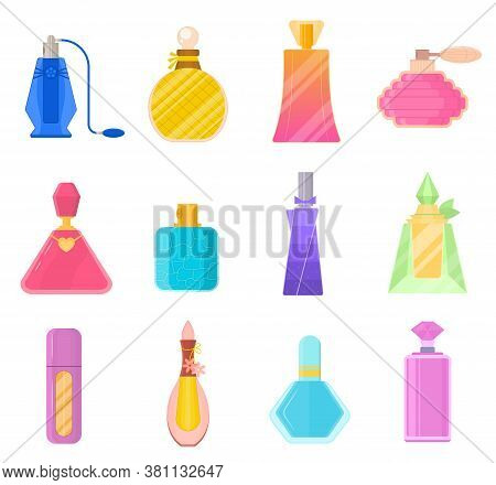 Cartoon Color Perfume Bottles Icons Set Fragrance Concept Flat Design Style. Vector Illustration Of