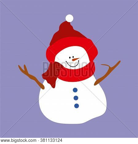 Snowman In A Red Hat And Red Scarf.happy Snowman With Christmas Decorations.isolated On A Blue Backg