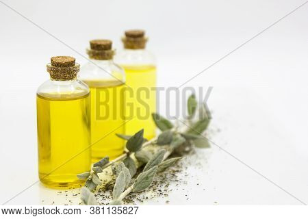 Three Small Bottles With Natural Essential Oil And Herbs On A White Background. Alternative Eco Medi