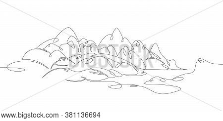 One Continuous Drawing Line Logo Beautiful Mountain Landscape Panorama Overlooking The Alpine Lake