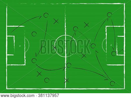 Soccer Game Tactical Scheme. The Scheme Of The Game. Strategy. Tactics. On The Chalkboard. For Your