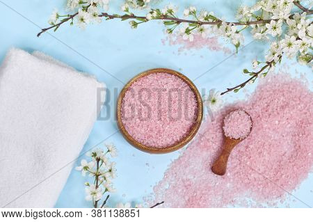 Spa Setting Spring Flowers With Towel , Salt In Bowl, Spring Time