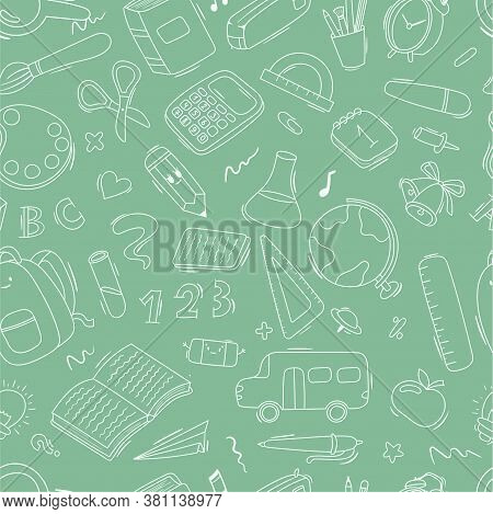 Vector Seamless Cartoon Doodle Pattern School And School Supplies, Stationery, Books, Backpacks, Sch