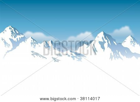 snowcapped mountains - vector background