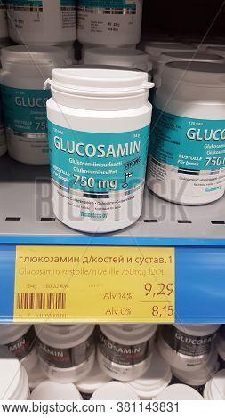 Lappeenranta, Finland 22,11,2019 Glucosamine Tablets In A Pharmacy On Sale