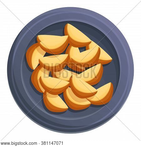 Homemade Potato Slices Icon. Cartoon Of Homemade Potato Slices Vector Icon For Web Design Isolated O