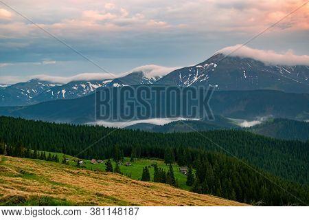 Spectacular Autumn Evening Over Mountain Meadow. Chornohora Mountain Range, Carpathian Mountains, Uk