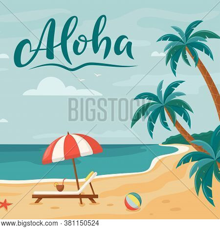 Vector Background With Palm Trees, Beach Lounger And Umbrella. Summer Beach. Seaside Landscape, Trop