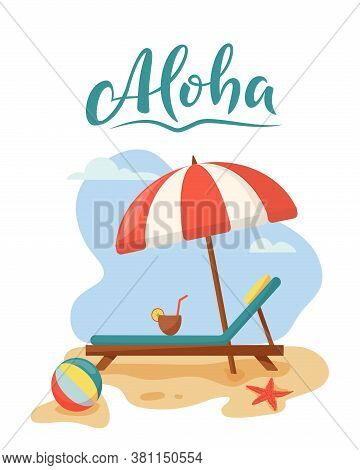 Travel And Summer Beach Vacation Relax Concept. Tropical Island With Umbrella, Ball And Beach Lounge