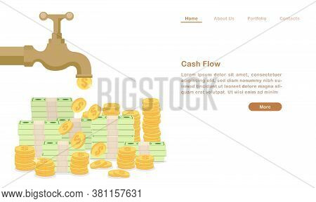 Website Landing Page Template Cartoon Golden Water Tap Faucet Dropping Money Coin And Bill Cash Flow